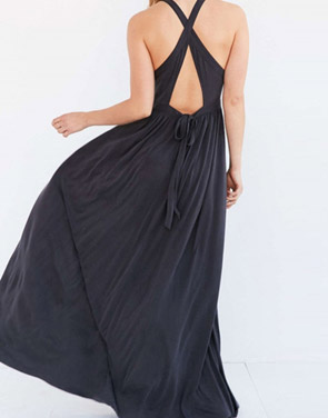 photo Sleeveless Back Crisscross Strap High Waist Maxi Evening Dress by OASAP - Image 2