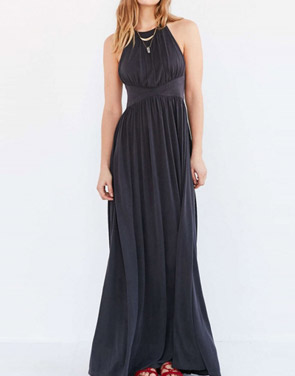 photo Sleeveless Back Crisscross Strap High Waist Maxi Evening Dress by OASAP - Image 3