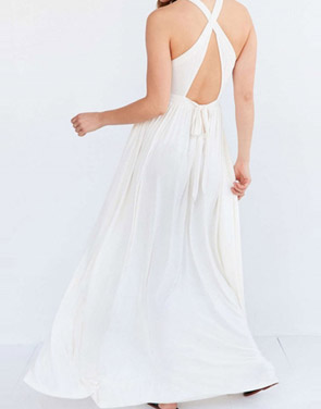 photo Sleeveless Back Crisscross Strap High Waist Maxi Evening Dress by OASAP - Image 5