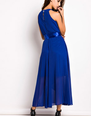 photo Slit Halter Evening Maxi Dress by OASAP - Image 2