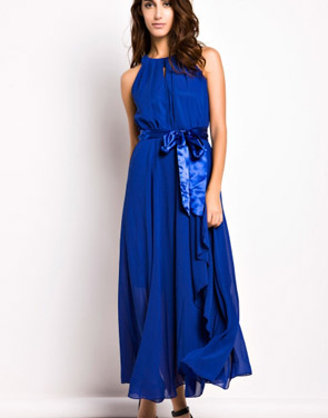 photo Slit Halter Evening Maxi Dress by OASAP - Image 1