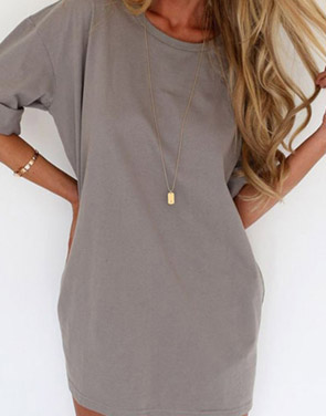 photo Slouchy Drop Shoulder Mini Dress by OASAP - Image 2