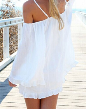 photo Slouchy Loose Fit Off-the-Shoulder Tunic Dress by OASAP, color White - Image 2