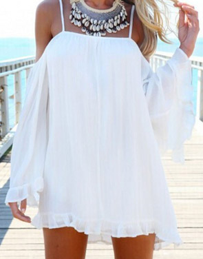 photo Slouchy Loose Fit Off-the-Shoulder Tunic Dress by OASAP, color White - Image 1