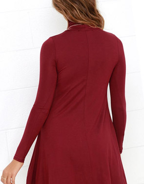 photo Solid Color Turtleneck Stretch Knit Trapeze Dress by OASAP - Image 2