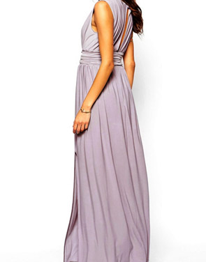 photo Solid Deep V-Neck Sleeveless High Slit Evening Dress by OASAP, color Light Purple - Image 2