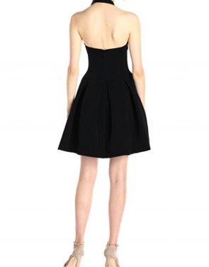photo Solid Halter V-Neck Backless Short Skater Dress by OASAP - Image 2