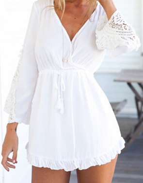 photo Splicing Lace Flouncing Peplum Deep-V Dress by OASAP, color White - Image 1