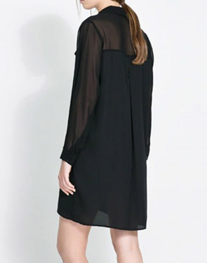 photo Stand Collar Button Down Front Chiffon Dress by OASAP, color Black - Image 2
