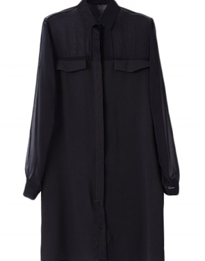photo Stand Collar Button Down Front Chiffon Dress by OASAP, color Black - Image 1