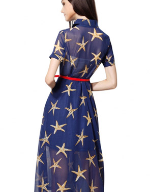 photo Starry Print Short Sleeve Semi-Sheer Plus Size Midi Dress by OASAP, color Blue - Image 2