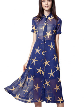 photo Starry Print Short Sleeve Semi-Sheer Plus Size Midi Dress by OASAP, color Blue - Image 1