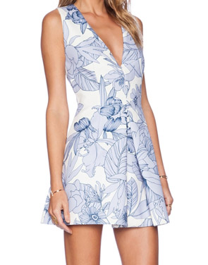 photo Stylish Floral Print Deep V-Neck Sleeveless A-line Dress by OASAP, color Blue White - Image 2