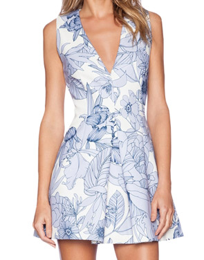 photo Stylish Floral Print Deep V-Neck Sleeveless A-line Dress by OASAP, color Blue White - Image 1
