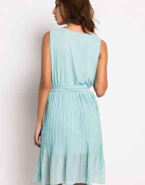 photo Summer Pleated Belted Chiffon Dress by OASAP, color Mint Green - Image 2