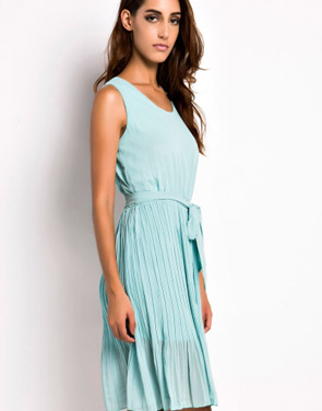 photo Summer Pleated Belted Chiffon Dress by OASAP, color Mint Green - Image 3