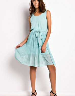photo Summer Pleated Belted Chiffon Dress by OASAP, color Mint Green - Image 4