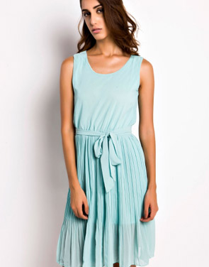 photo Summer Pleated Belted Chiffon Dress by OASAP, color Mint Green - Image 1
