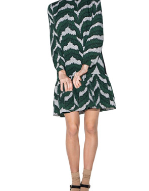 photo Sweet High Neck Long Sleeve Flounce Hem Print Dress by OASAP, color Green - Image 1