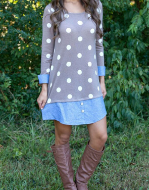 photo Sweet Polka Dot Denim Paneled Button Decor Dress by OASAP, color Multi - Image 2