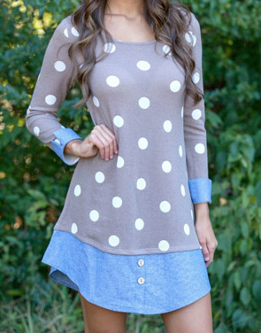 photo Sweet Polka Dot Denim Paneled Button Decor Dress by OASAP, color Multi - Image 1