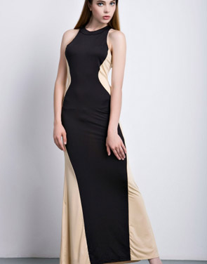 photo Swerve Halter Two-tone Evening Dress by OASAP, color Black White - Image 2