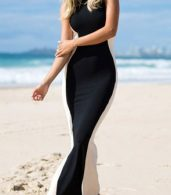 photo Swerve Halter Two-tone Evening Dress by OASAP, color Black White - Image 1