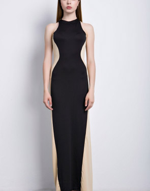 photo Swerve Halter Two-tone Evening Dress by OASAP, color Black White - Image 4