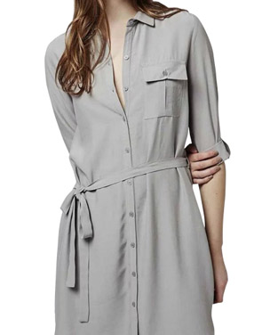photo Tie Waist Three Quarter Sleeve Button Down Shirt Dress by OASAP - Image 1