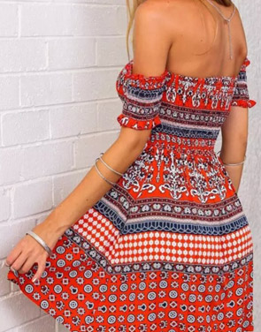 photo Tribal Geo Print Off-The-Shoulder Mini Dress by OASAP - Image 2