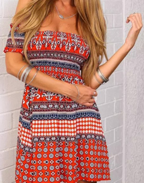 photo Tribal Geo Print Off-The-Shoulder Mini Dress by OASAP - Image 1