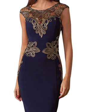 photo V-Back Hollow Out Lace Appliques Bodycon Dress by OASAP, color Blue - Image 1