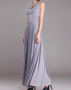 photo V-Neck Ruched Bust Sleeveless Maxi Party Dress by OASAP - Image 2