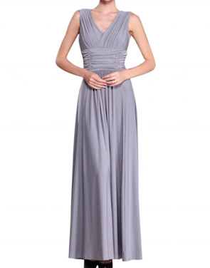 photo V-Neck Ruched Bust Sleeveless Maxi Party Dress by OASAP - Image 1