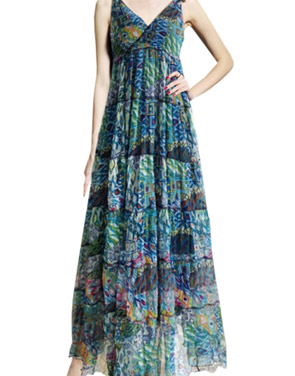 photo V-Neck Sleeveless Summer Printed Maxi Dress by OASAP, color Multi - Image 1