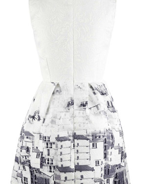 photo Vintage Butterfly Printing A-line Dress by OASAP, color Grey White - Image 2