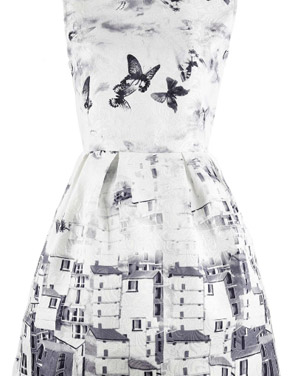 photo Vintage Butterfly Printing A-line Dress by OASAP, color Grey White - Image 1