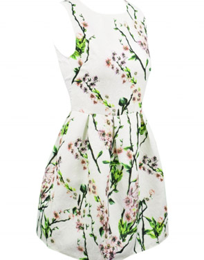 photo Vintage Floral Print Round Neck Sleeveless Dress by OASAP, color Multi - Image 2