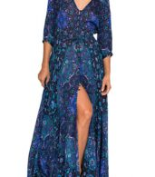 photo Vintage Floral Print V-Neck 3/4 Sleeve Maxi Dress by OASAP, color Multi - Image 2