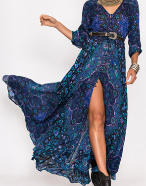 photo Vintage Floral Print V-Neck 3/4 Sleeve Maxi Dress by OASAP, color Multi - Image 1