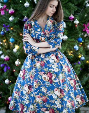 photo Vintage Floral Printing Belted Dress by OASAP, color Multi - Image 1