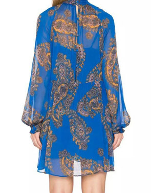 photo Vintage Print Stand Collar Long Sleeve Mini Dress by OASAP, color Blue - Image 2