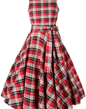 photo Vintage Tartan Print V-Back Midi Dress by OASAP, color Red - Image 2