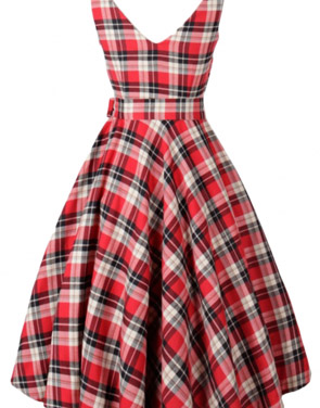 photo Vintage Tartan Print V-Back Midi Dress by OASAP, color Red - Image 1