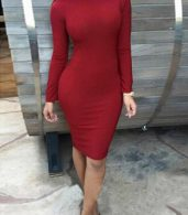photo Weaved Scoop Back Mock Neck Bodycon Dress by OASAP, color Burgundy - Image 1