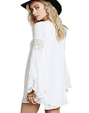 photo White Flared Sleeves Chiffon Mini Dress by OASAP, color White - Image 2