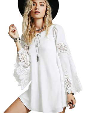 photo White Flared Sleeves Chiffon Mini Dress by OASAP, color White - Image 1