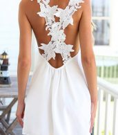 photo White Floral Crossover Back Mini Dress by OASAP, color White - Image 2