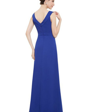 photo Womens Sleeveless Floor Length Sapphire Blue Evening Dress by OASAP, color Royal Blue - Image 2
