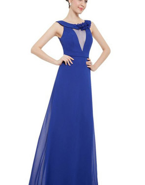 photo Womens Sleeveless Floor Length Sapphire Blue Evening Dress by OASAP, color Royal Blue - Image 1